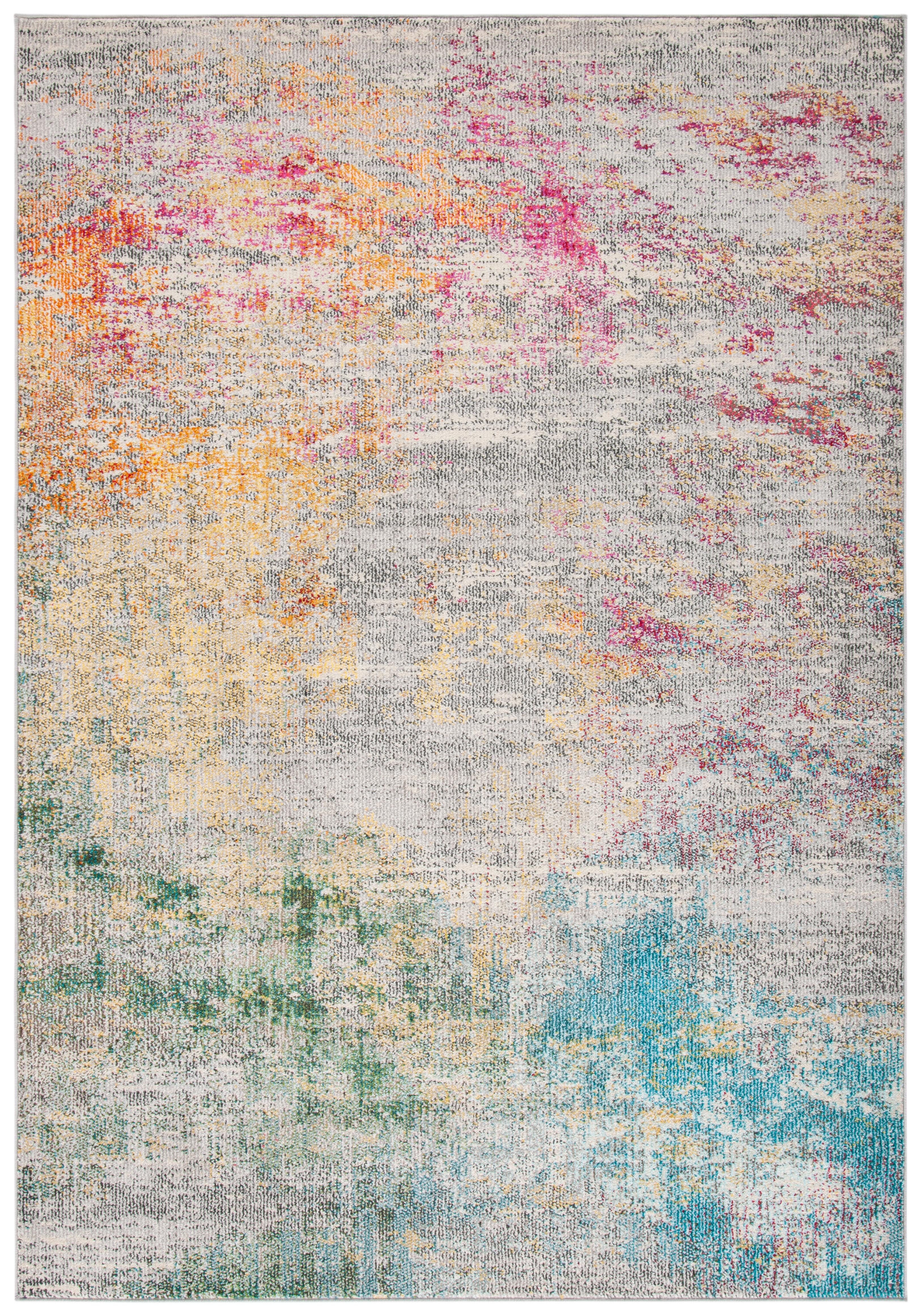 Tapis de salon contemporain gris et or 91x152