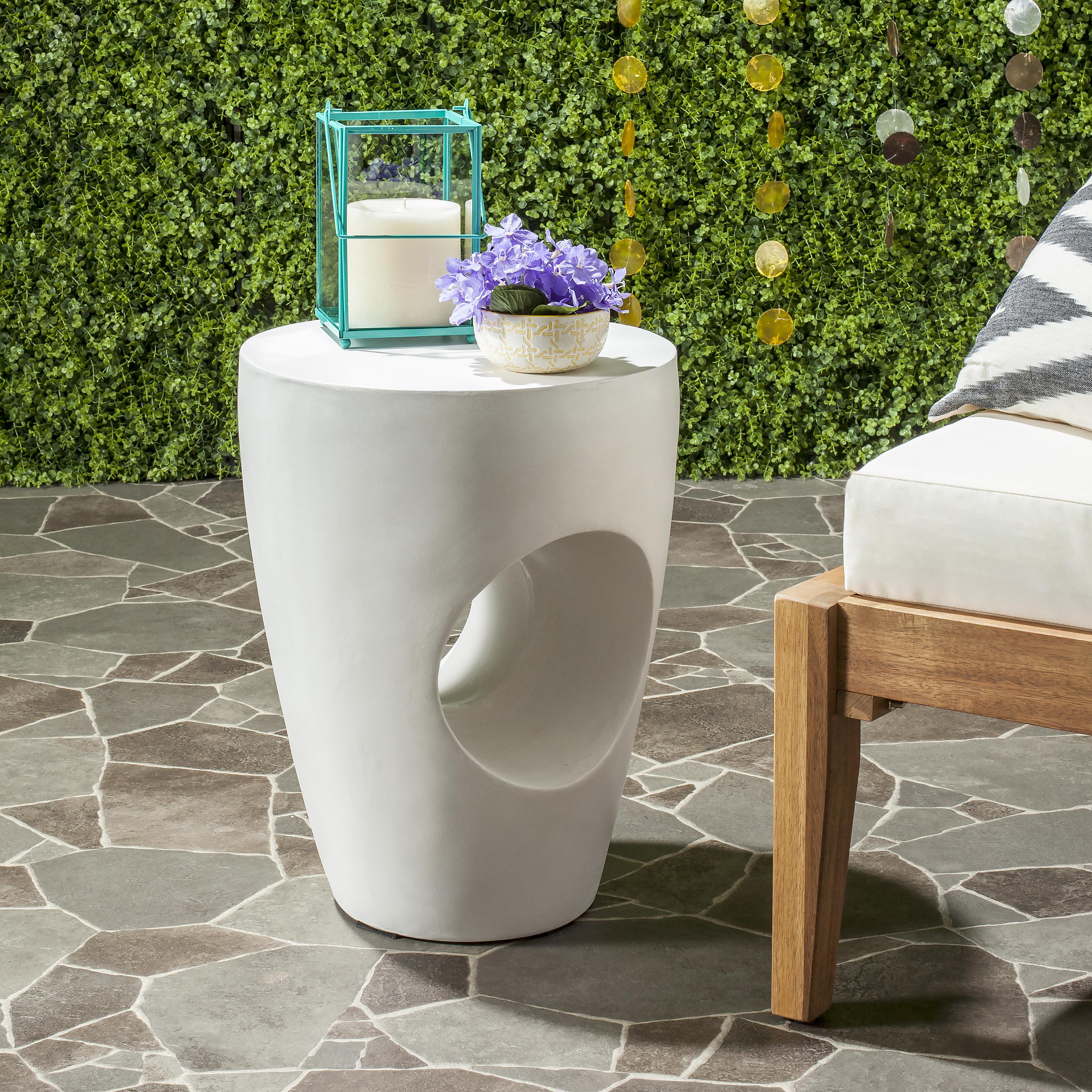 Tabouret intérieur/extérieur en ciment ivoire