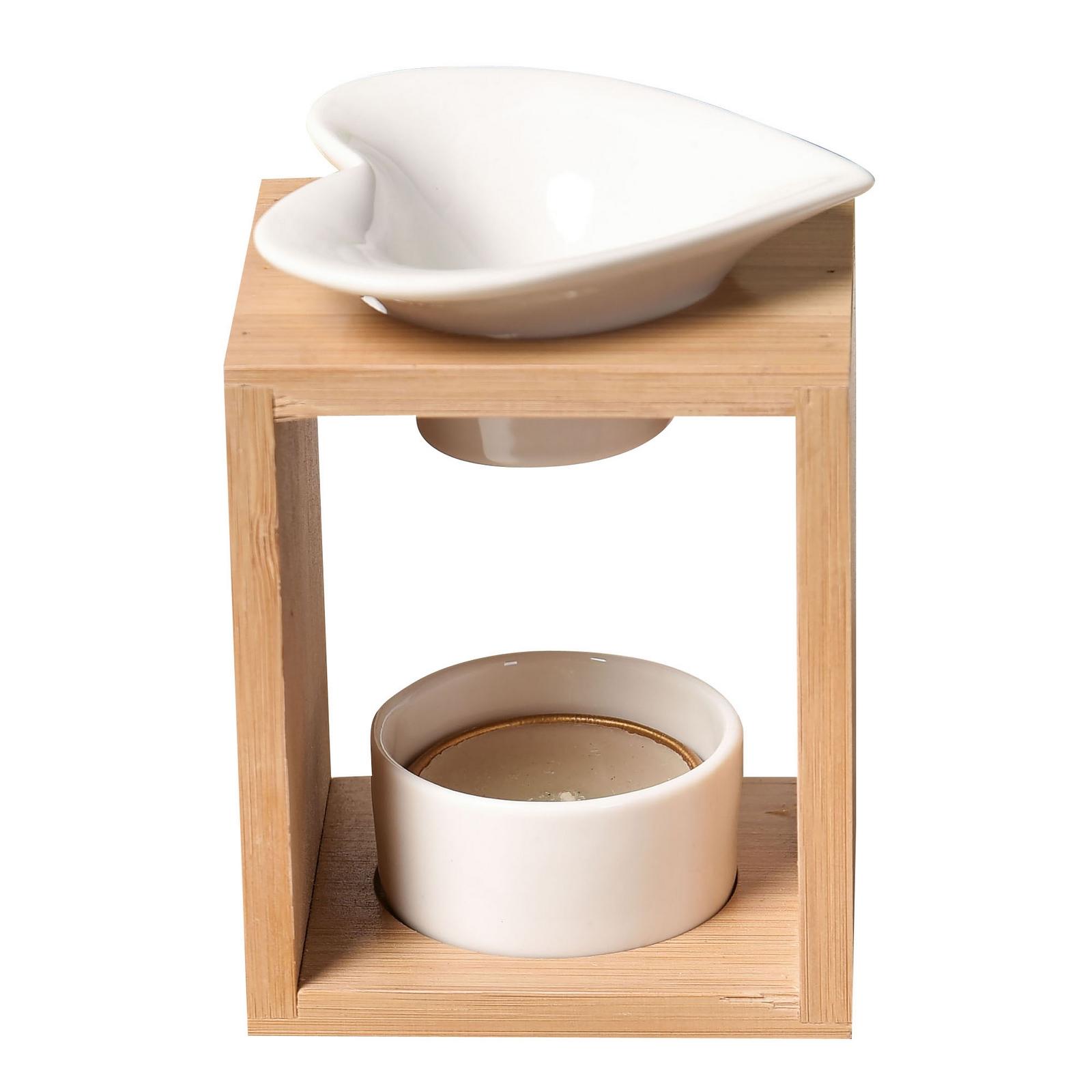 Brûle parfum Arum en céramique et bambou