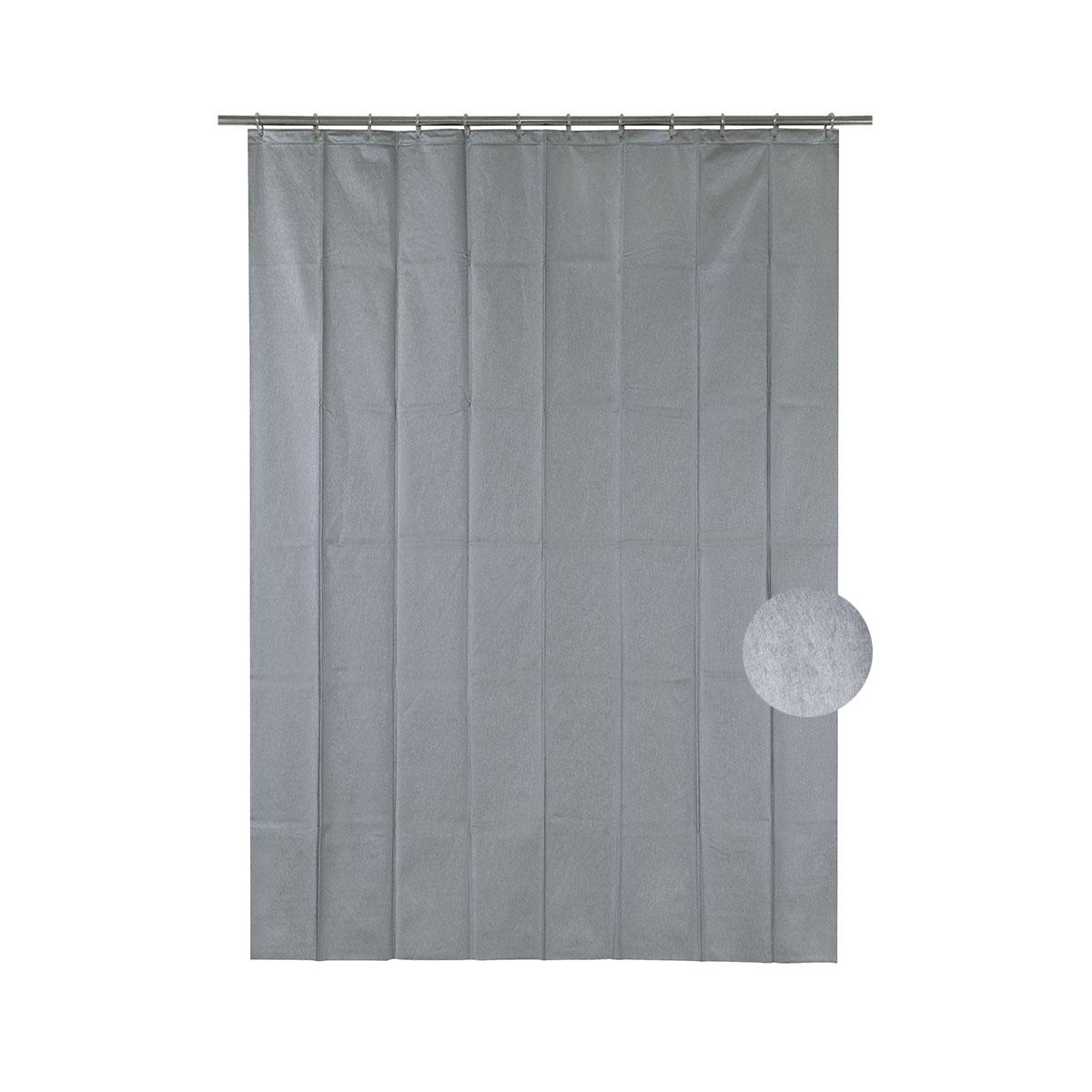 Rideau de douche effet métal gris