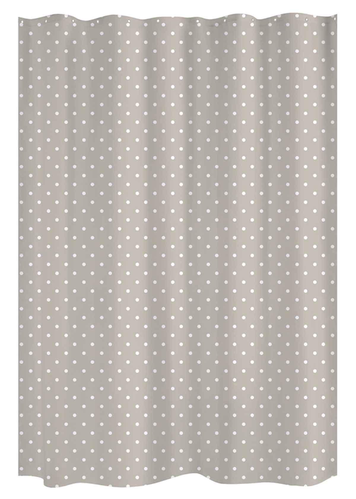 Rideau de douche à pois blancs polyester taupe/blanc x