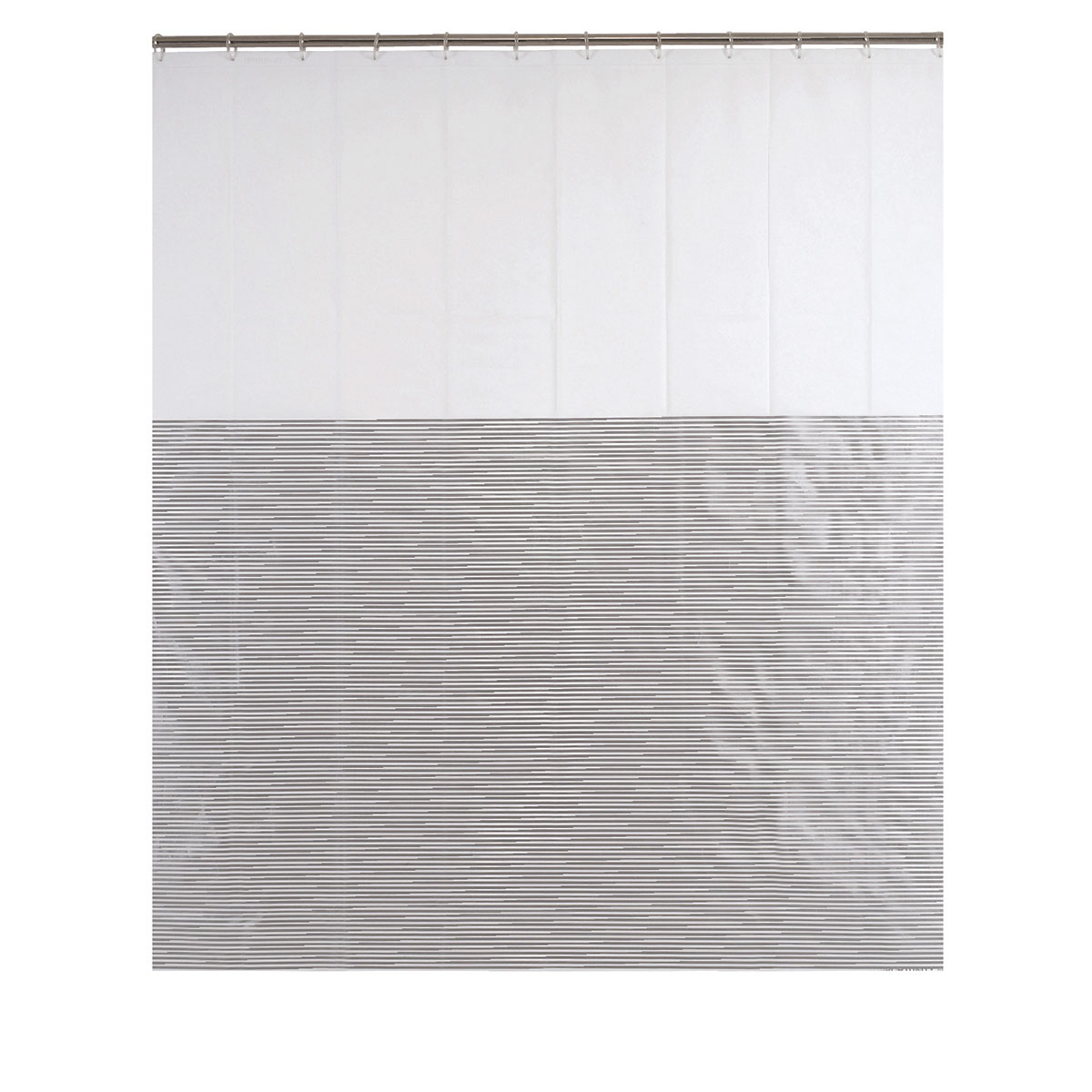 Rideau de douche à fines rayures argentées blanc argent