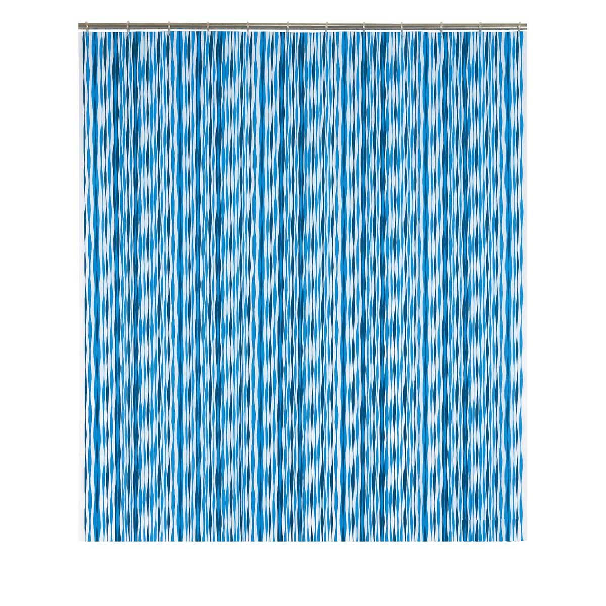 Rideau de douche à rayures ondulées bleues bleu