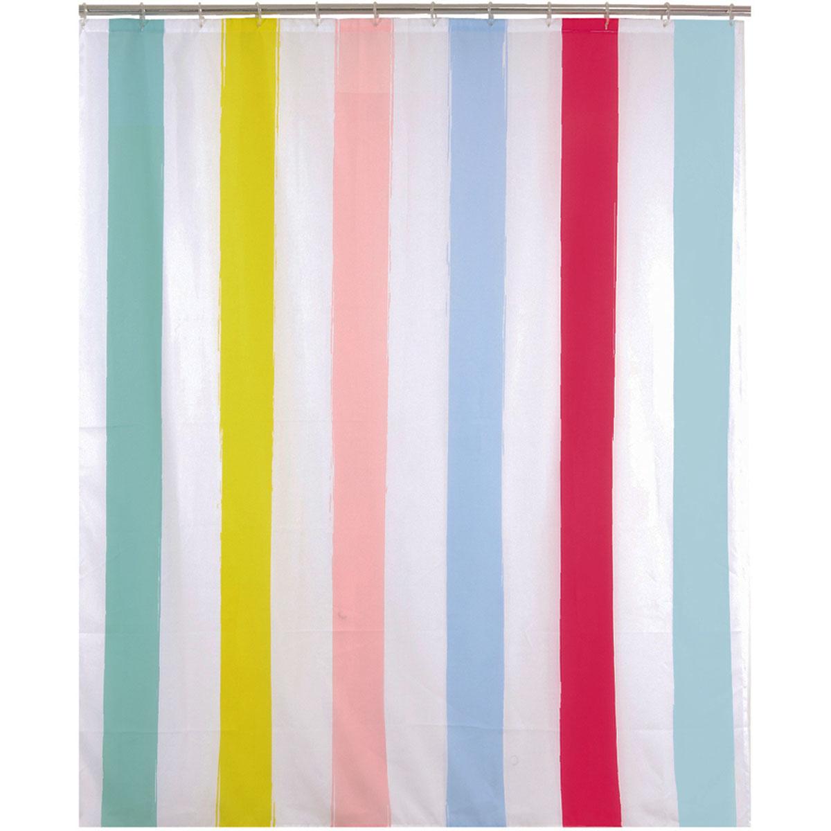 Rideau de douche bayadère polyester multicolore 200x180