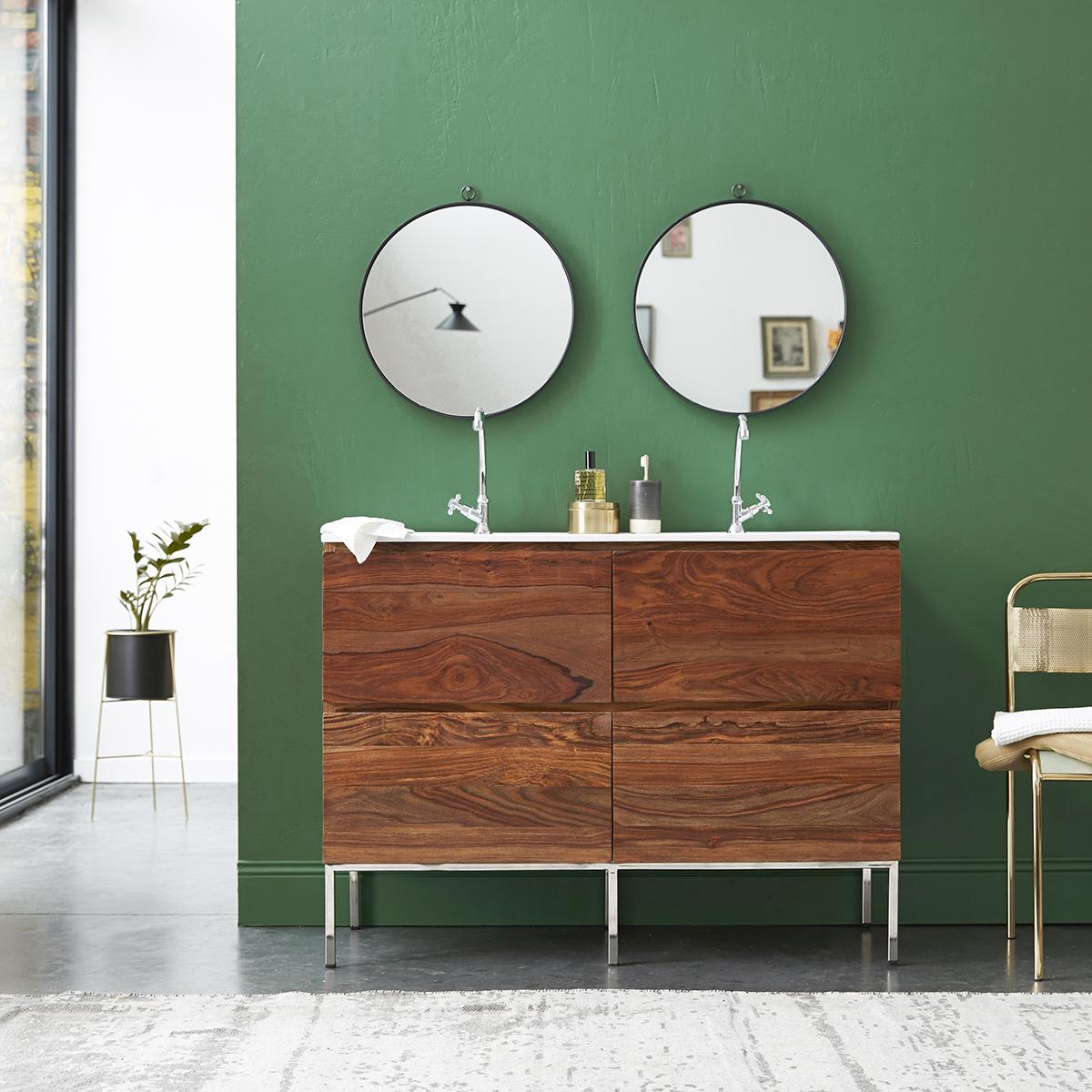 Meuble Salle de bain en palissandre et céramique 120