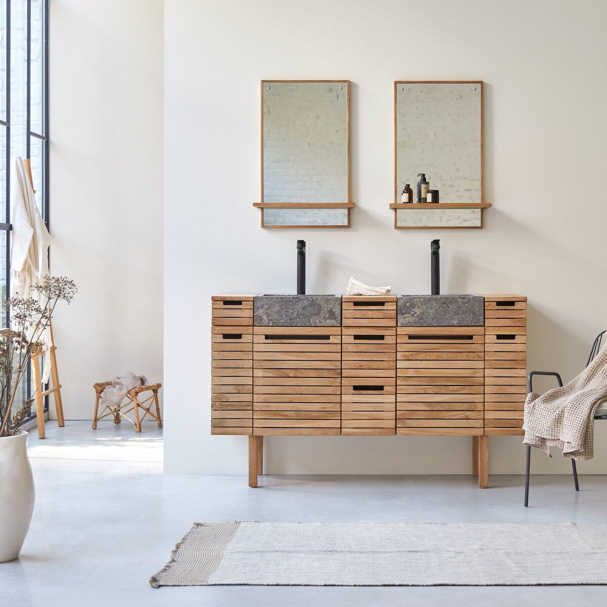 Meuble salle de bain en teck massif et marbre 150