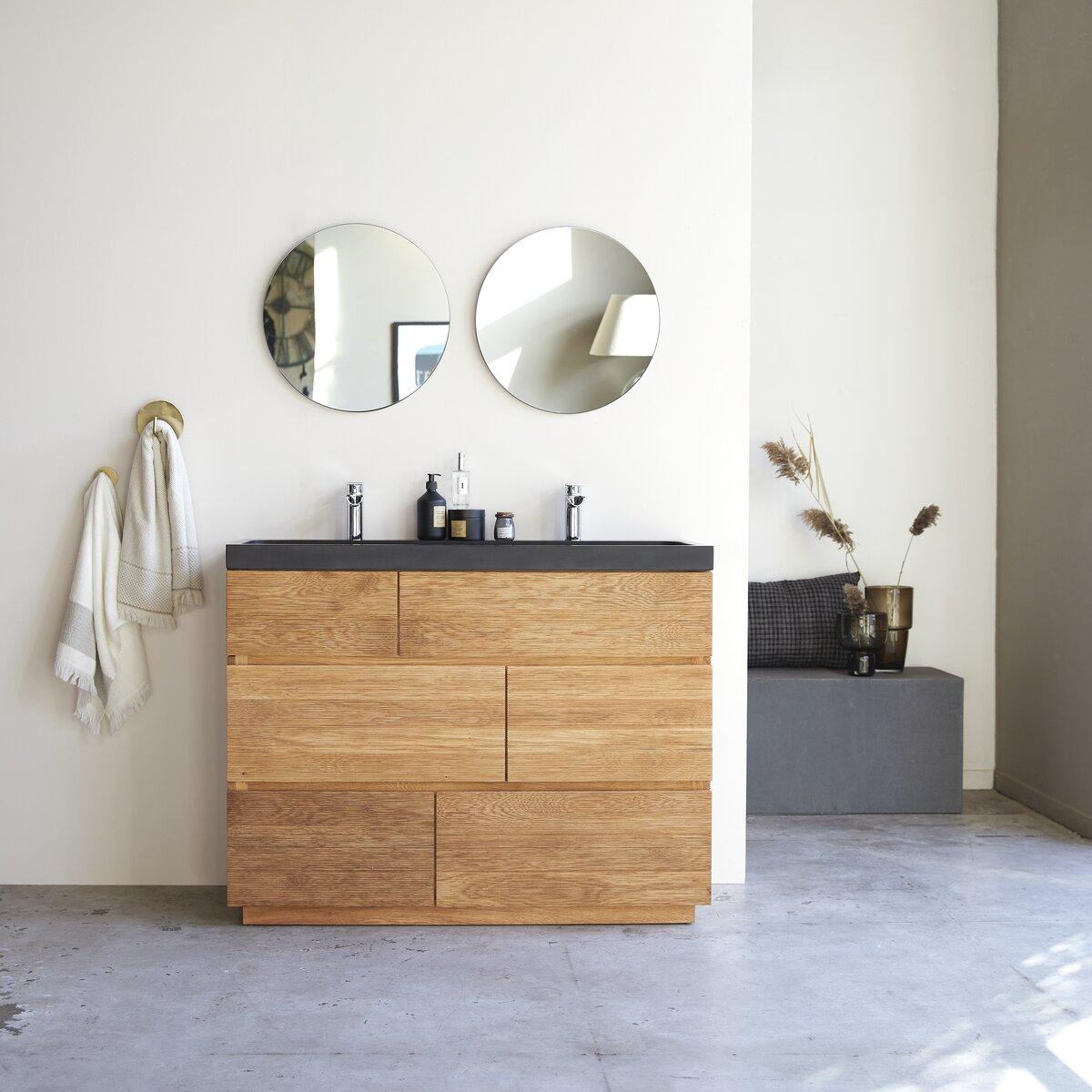 Meuble Salle de bain en chêne massif et pierre de lave 120