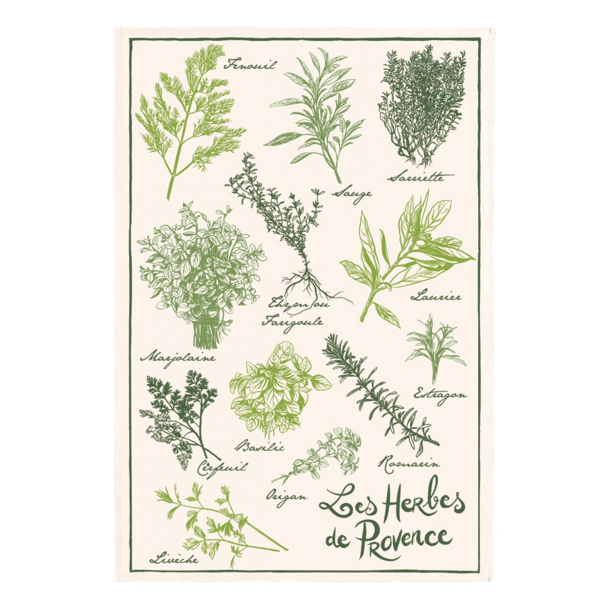 Torchon les herbes de provence en coton ecru 48 x 72