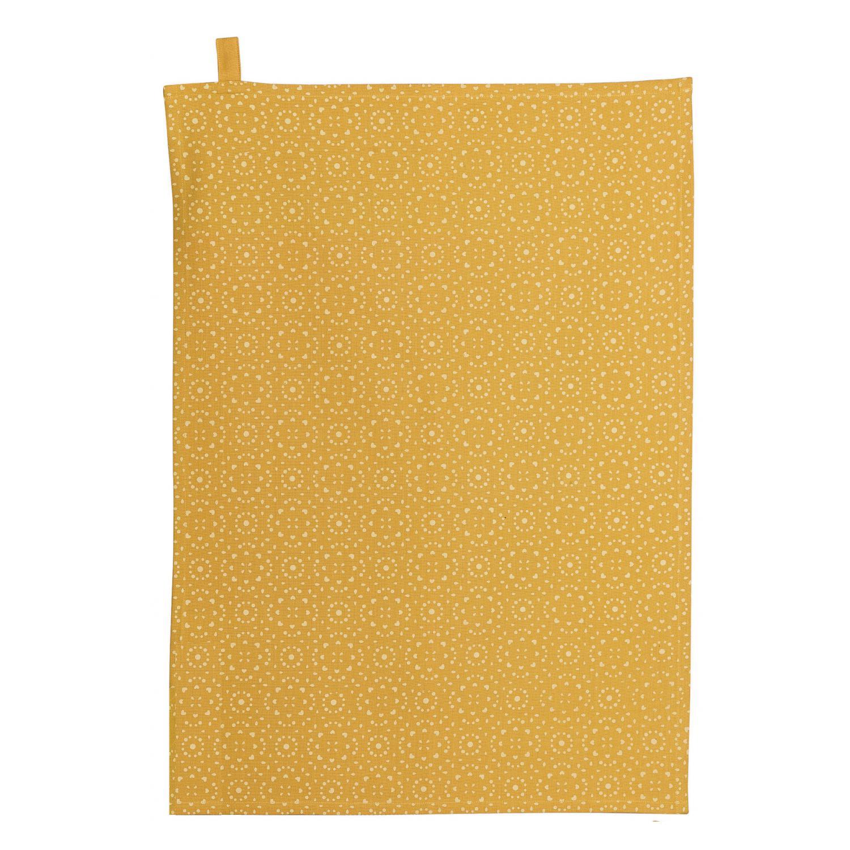 Torchon en coton jaune 50x70
