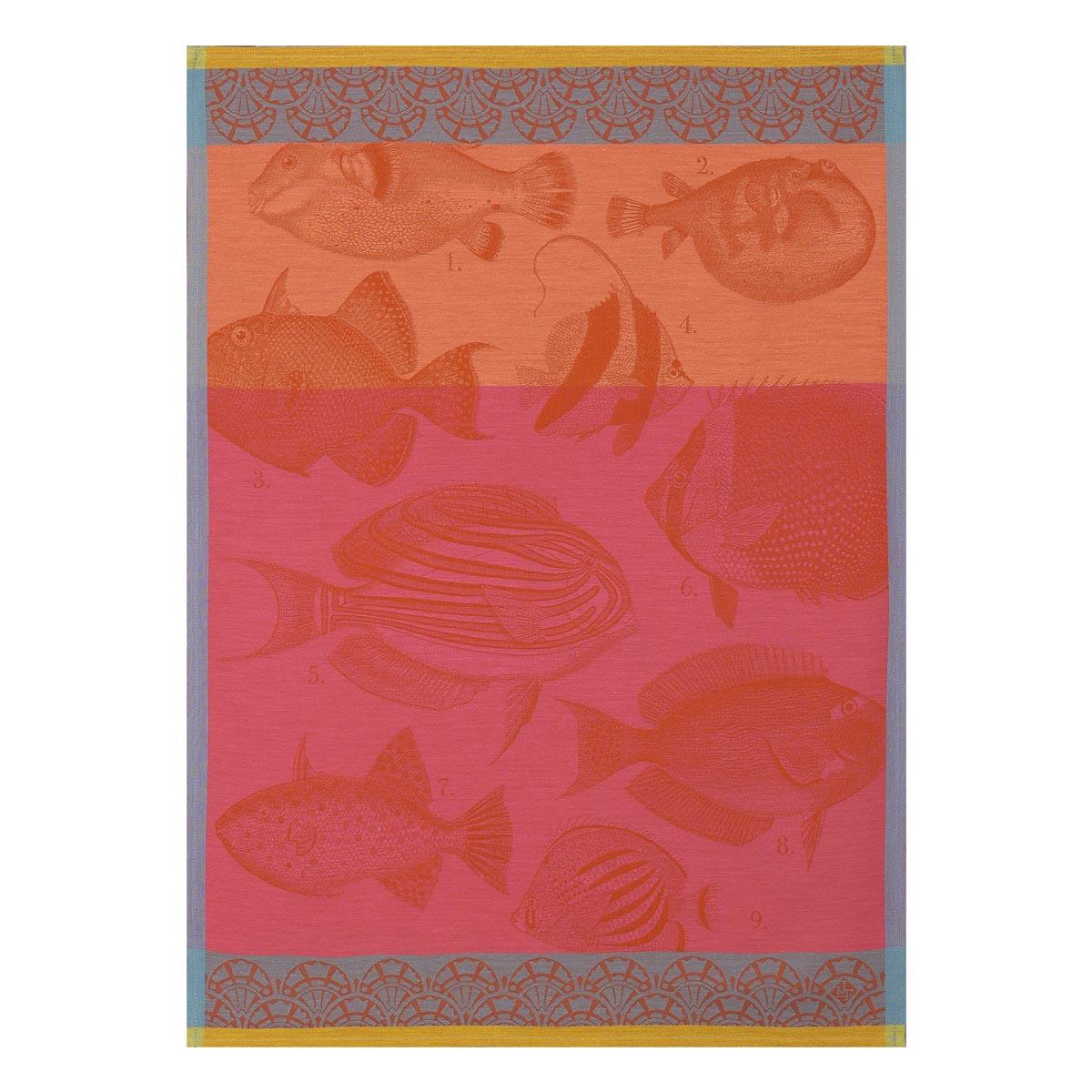 Torchon en coton corail 60 x 80