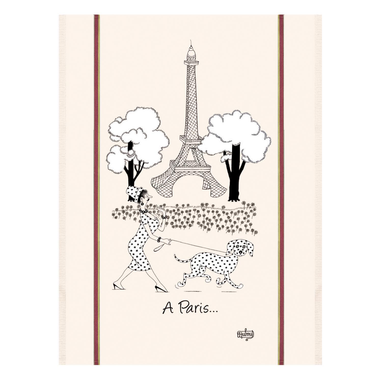 Torchon Dubout Mode de Paris en coton ecru 60 x 80