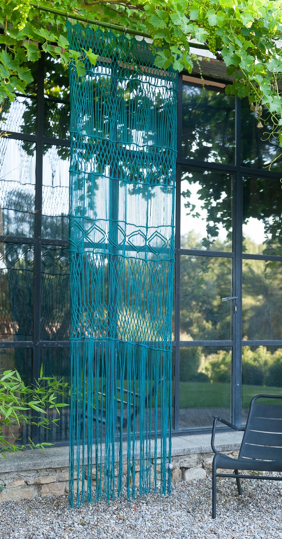 Rideau portière en macramé de coton 100x280 cm canard