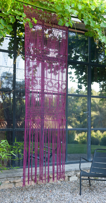 Rideau portière en macramé de coton 100x280 cm carmin