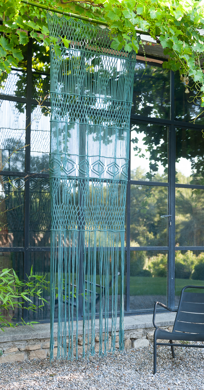 Rideau portière en macramé de coton 100x280 cm céladon