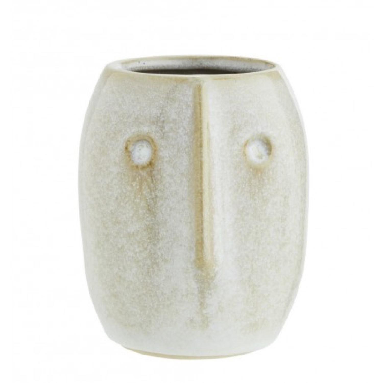Petit vase sculpté en céramique blanc cassé H10cm