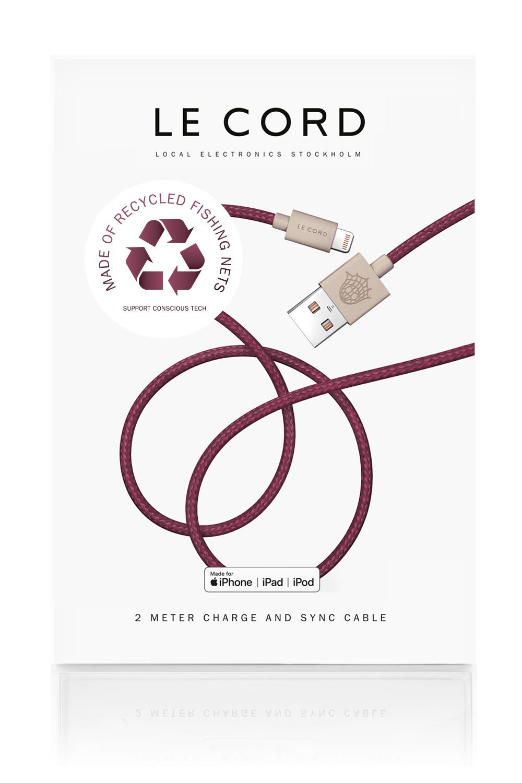 Câble certifié Apple fait de filets de pêche recyclés violet L200cm