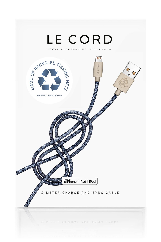 Câble certifié Apple fait de filets de pêche recyclés bleu L200cm