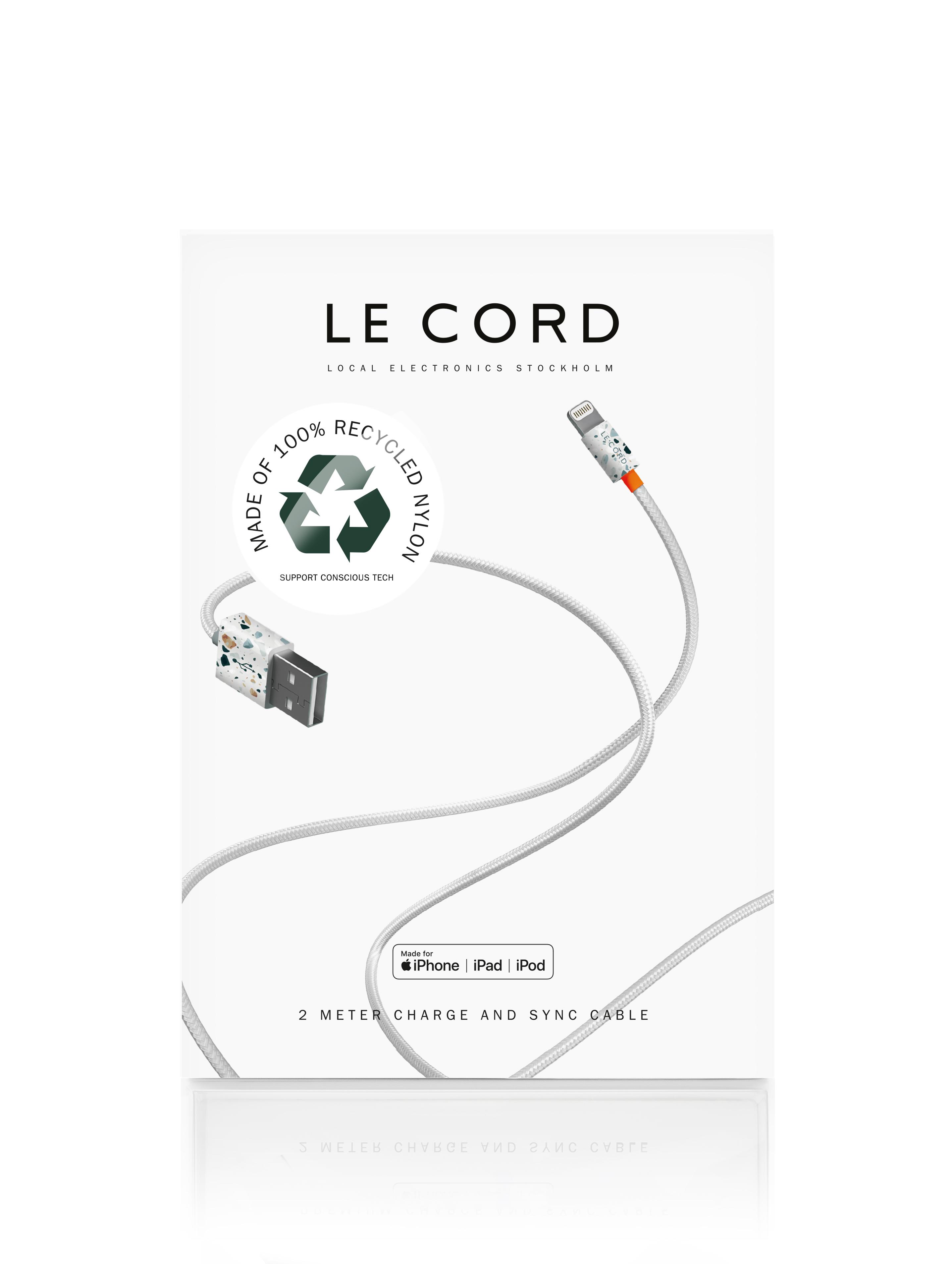 Câble certifié Apple fait de filets de pêche recyclés coloré L200cm