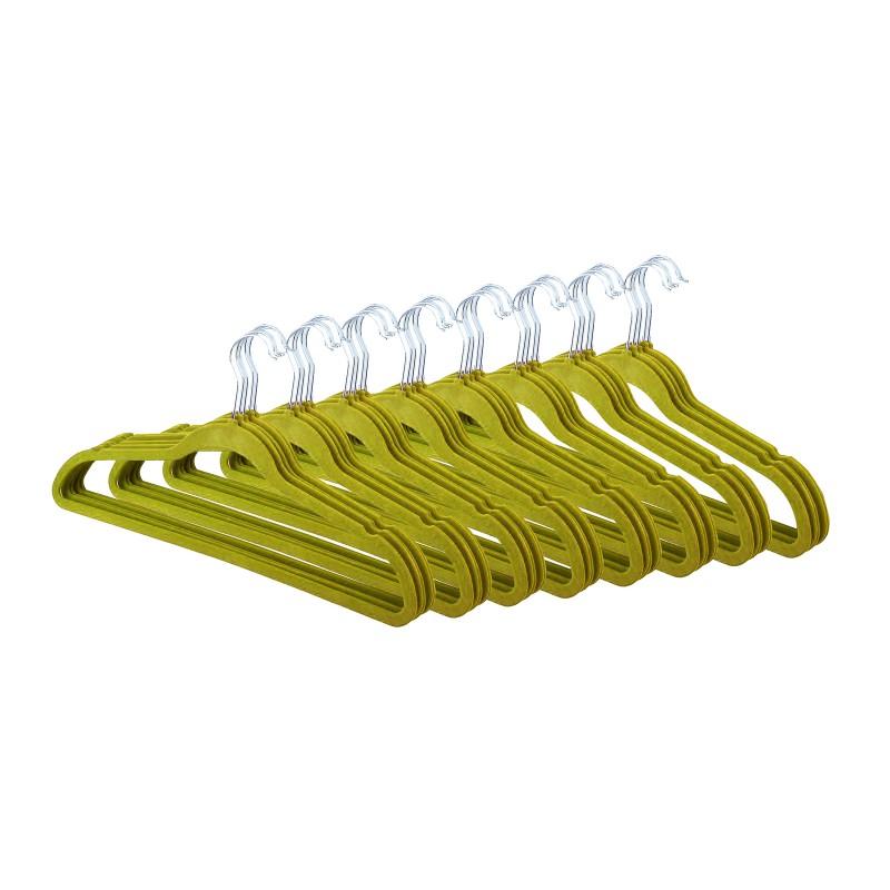 40 cintres vert velours anti-dérapant