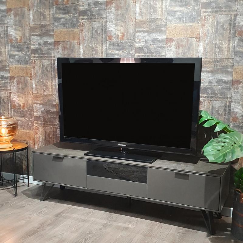 Meuble tv gris anthracite bois, céramique et pied métal