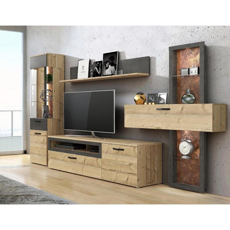 Meuble tv décor chêne et béton gris avec éclairage led