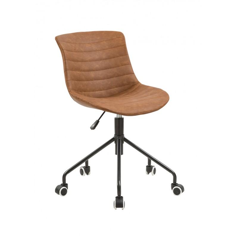 Chaise de bureau à roulettes en simili marron