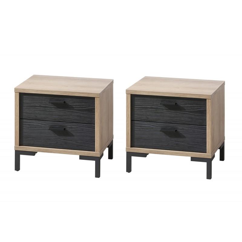 2 chevets avec tiroirs noir et beige