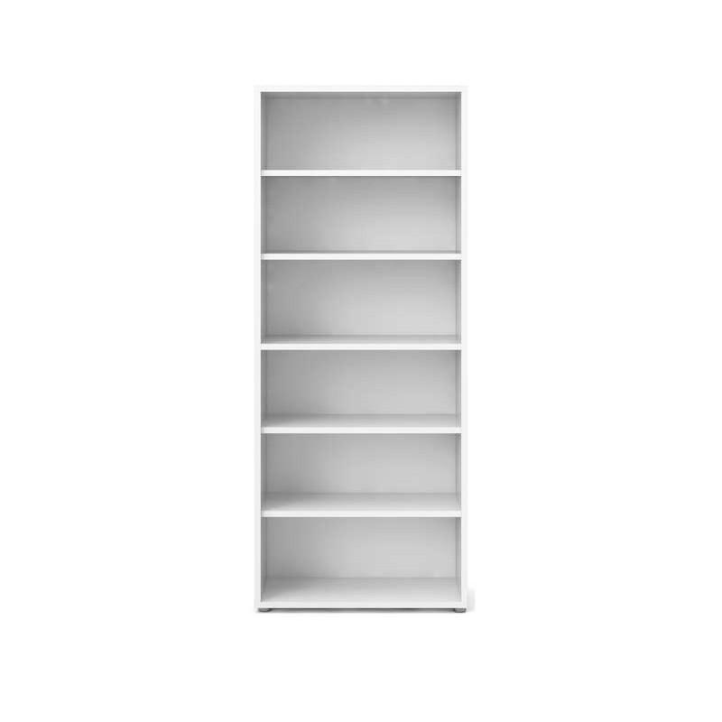 Bibliothèque 5 tablettes décor blanc