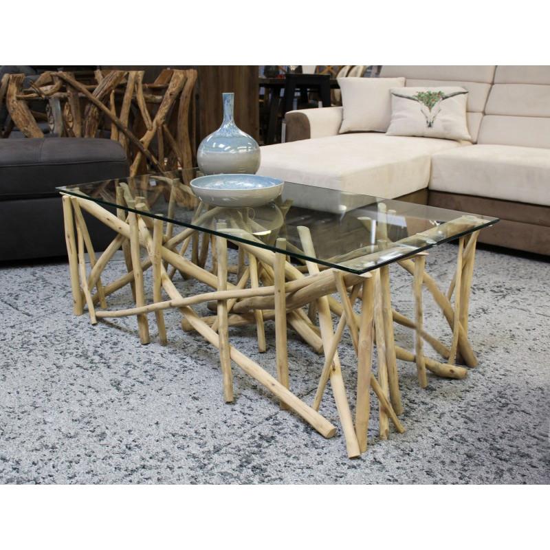 Table basse rectangulaire en teck et plateau verre
