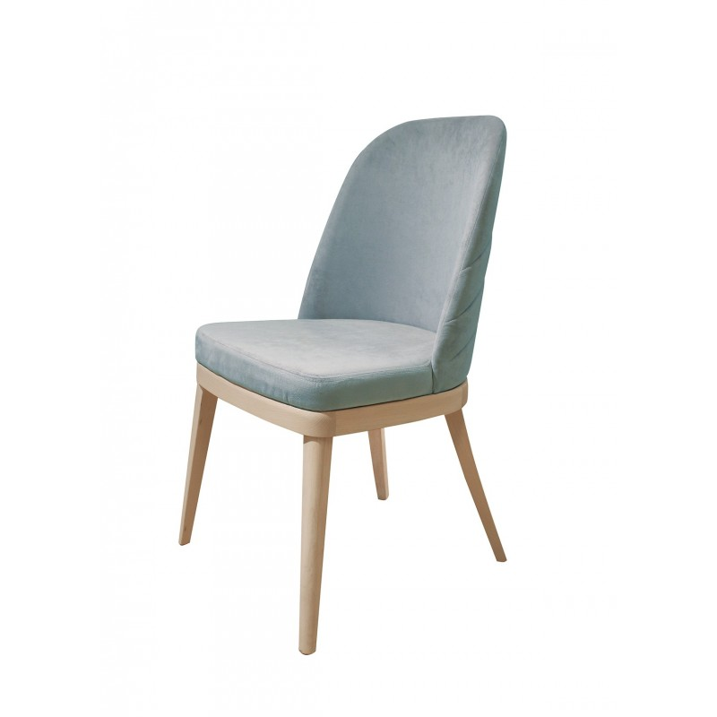 Chaise velours gris bleu clair