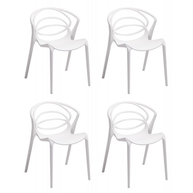 Lot 4 chaises de designers confort blanches