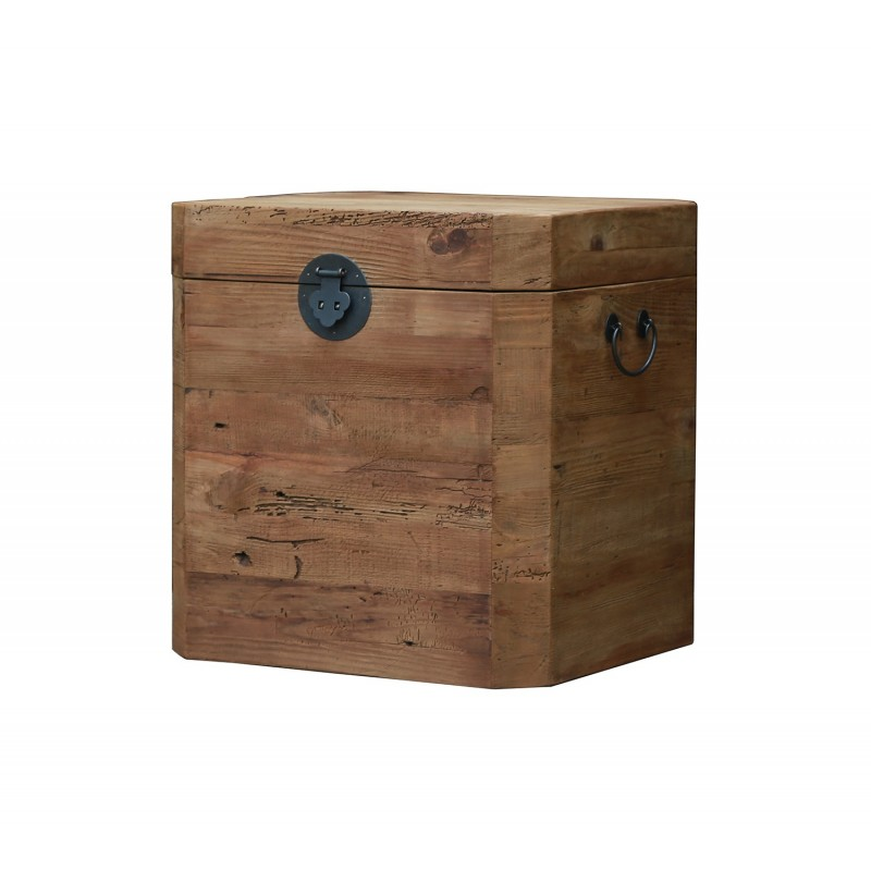 Coffre cube en pin recyclé