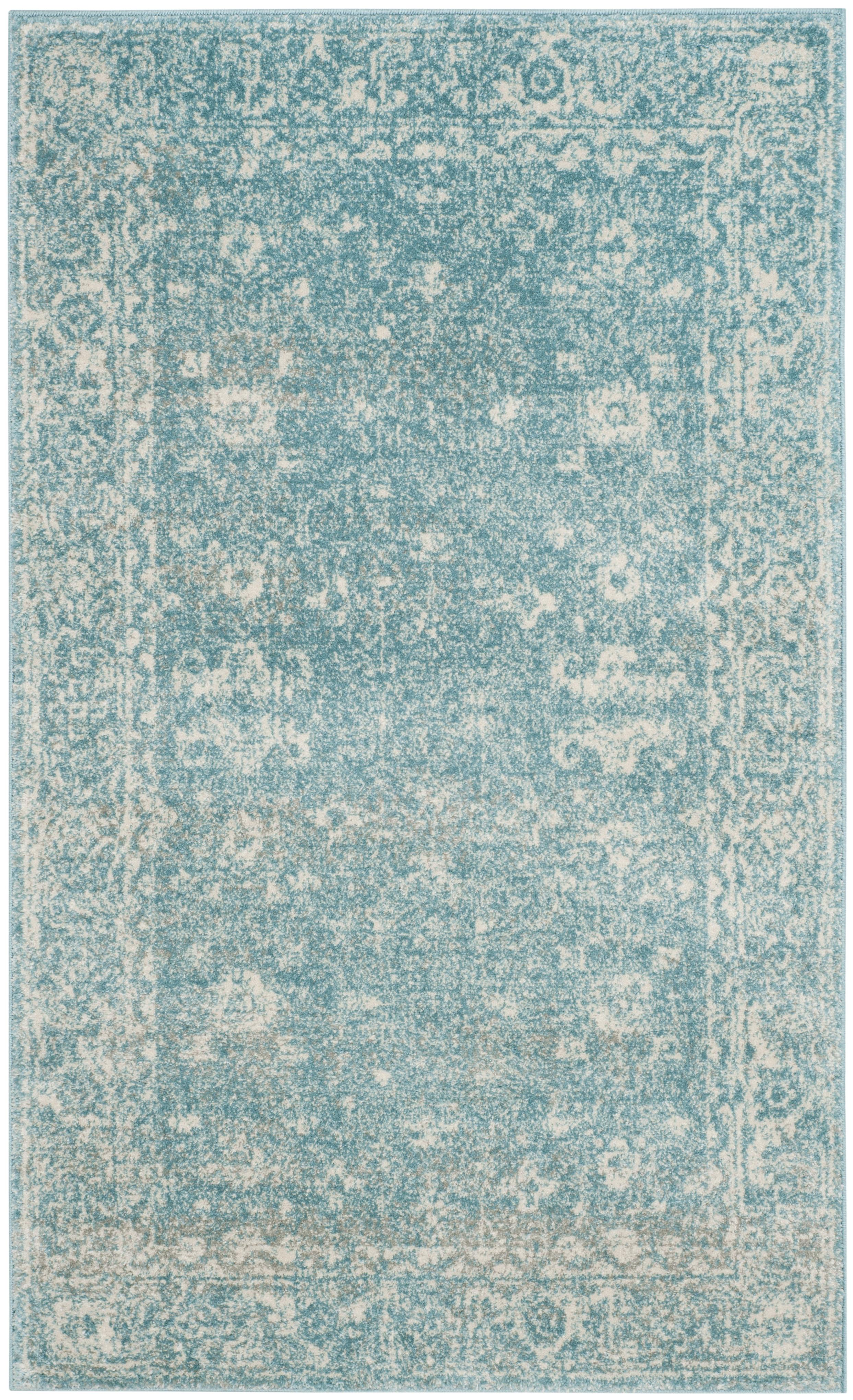 Tapis de salon d'inspiration vintage bleu clair et ivoire 90x150
