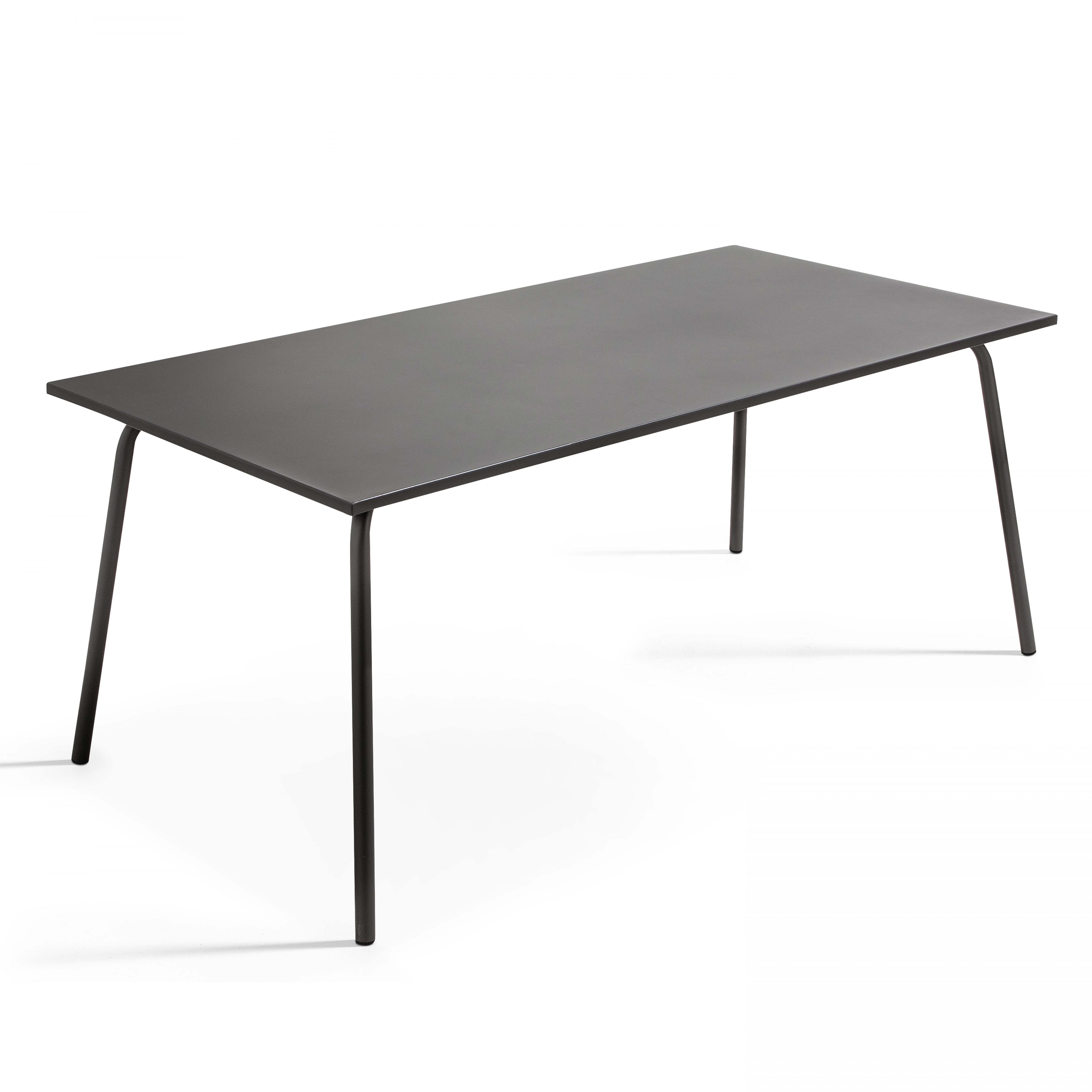 Table rectangulaire minimaliste en acier gris 8 places