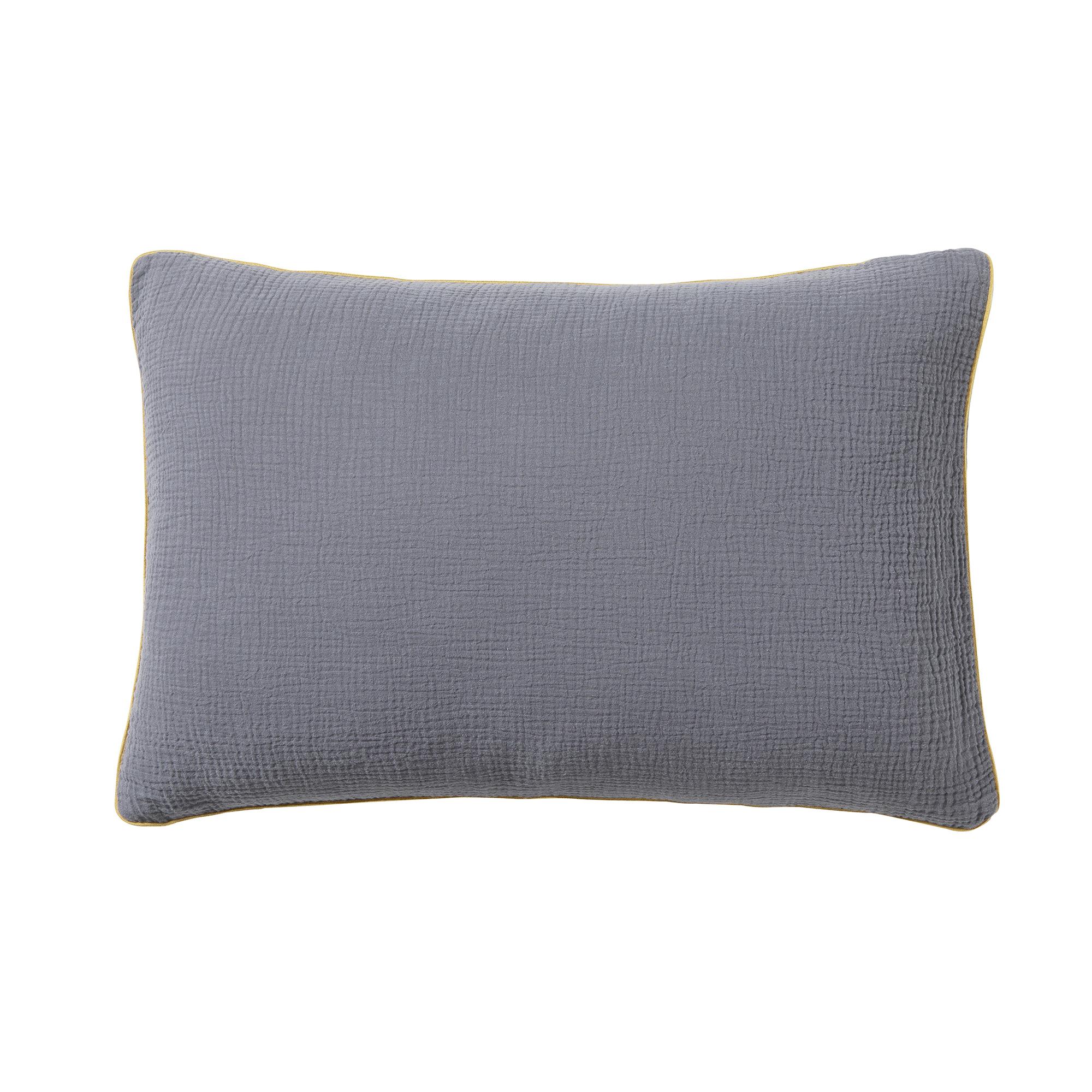 Housse de coussin en coton lavée gris 40x60