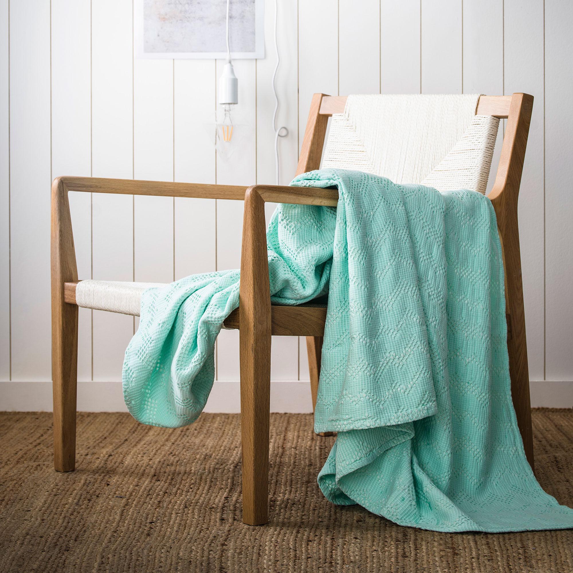 Couvre-lit en coton lavé Vert Menthe 240x260