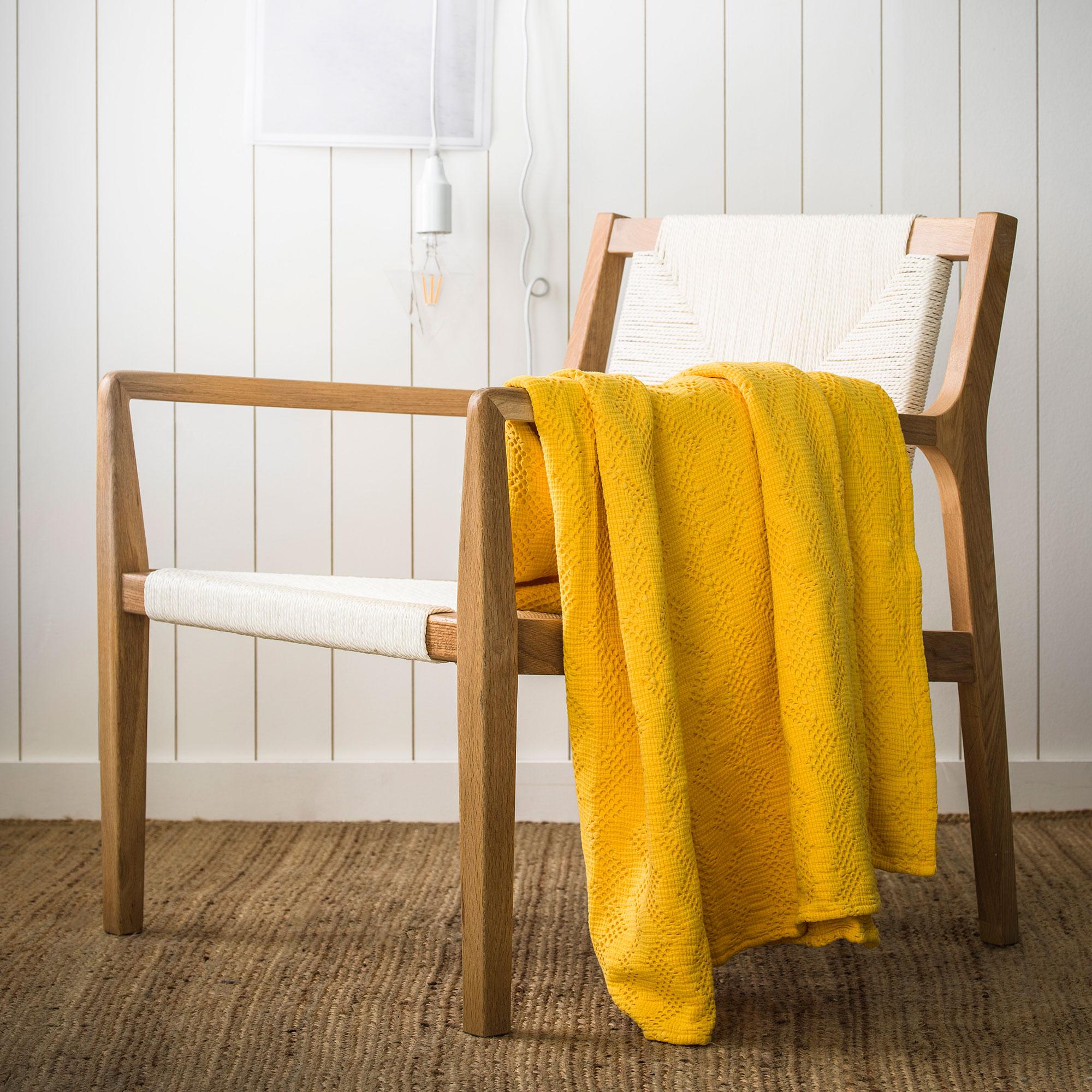 Couvre-lit en coton lavé Jaune Miel 240x260