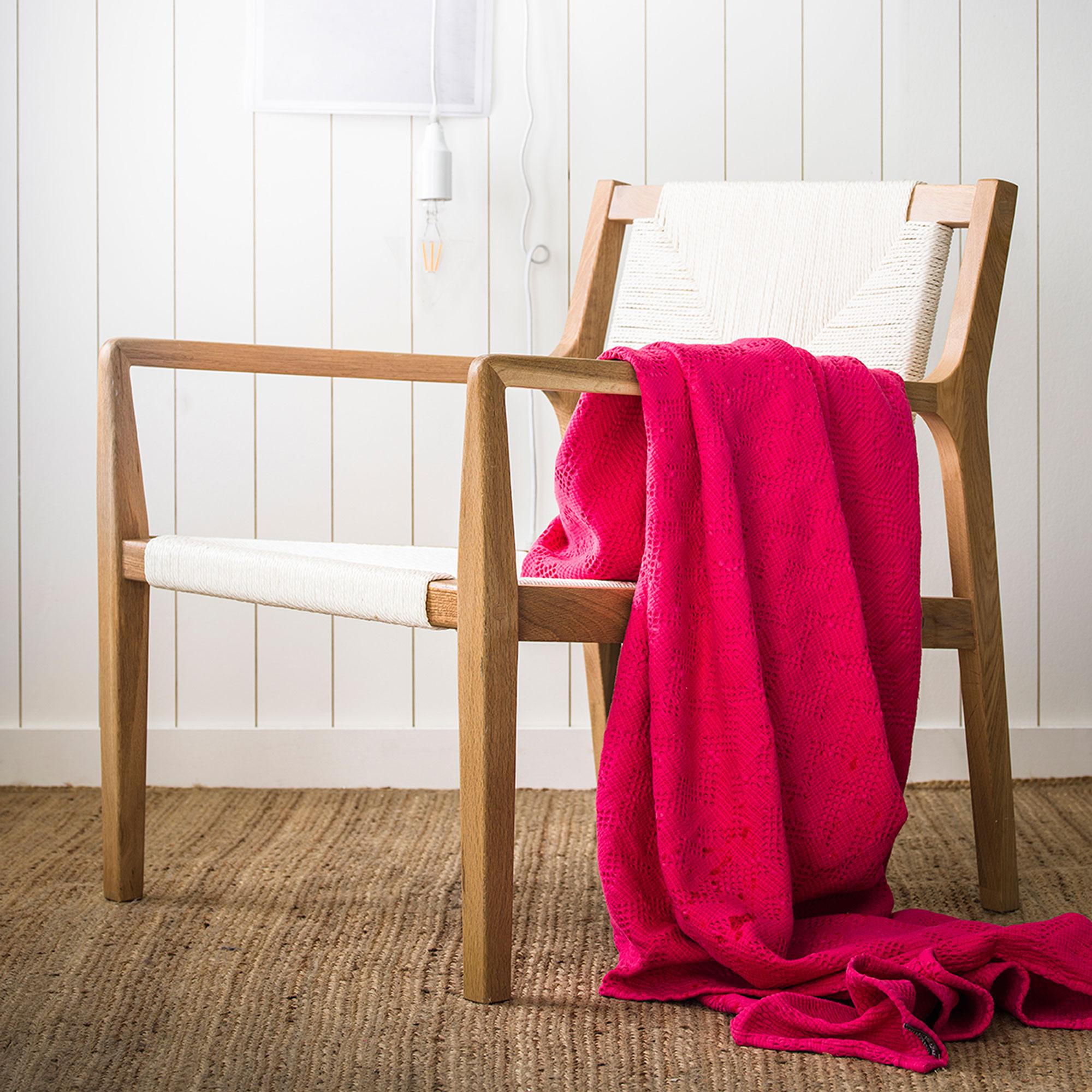 Couvre-lit en coton lavé rose Azalée 240x260