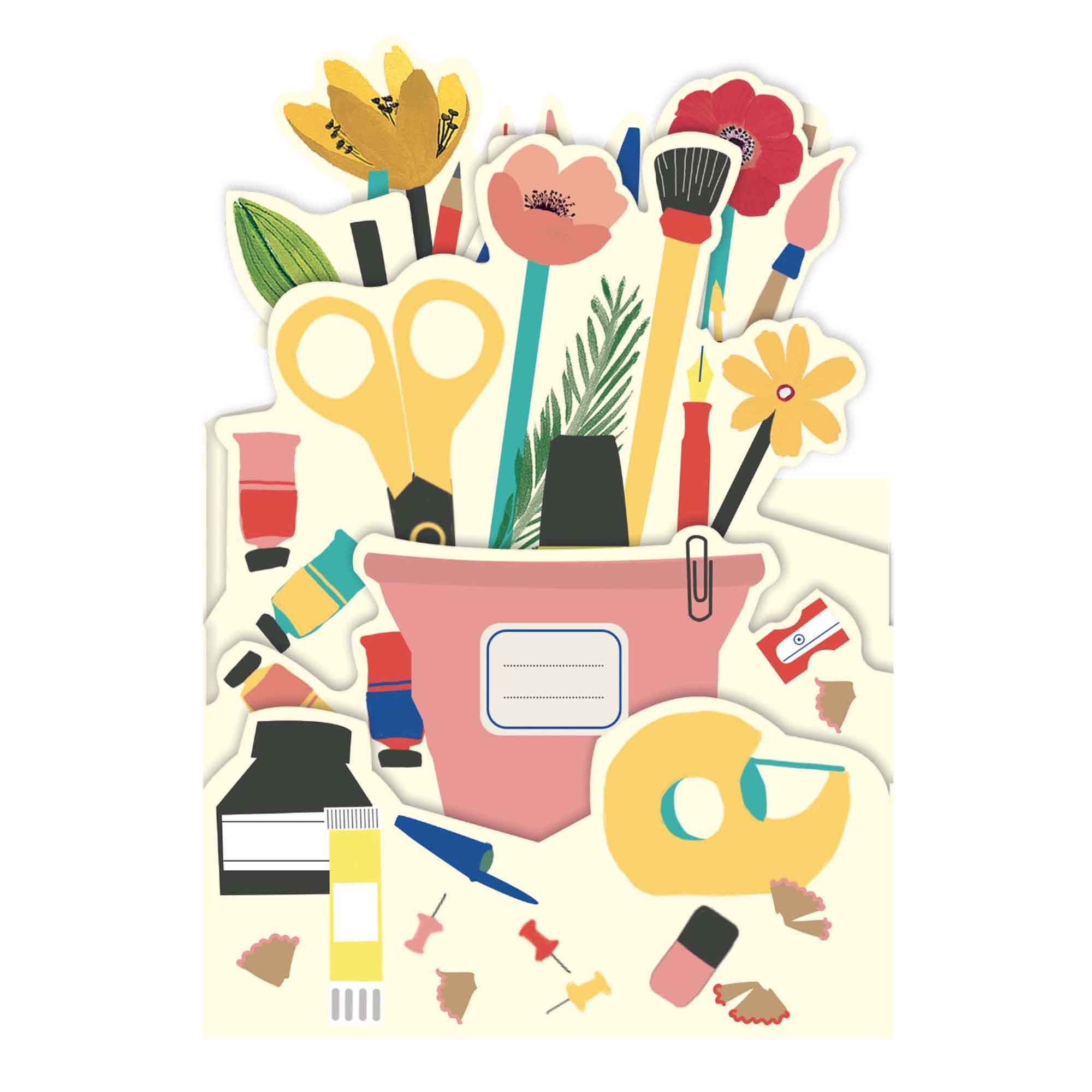 Carte pop-up 3d pot à crayons