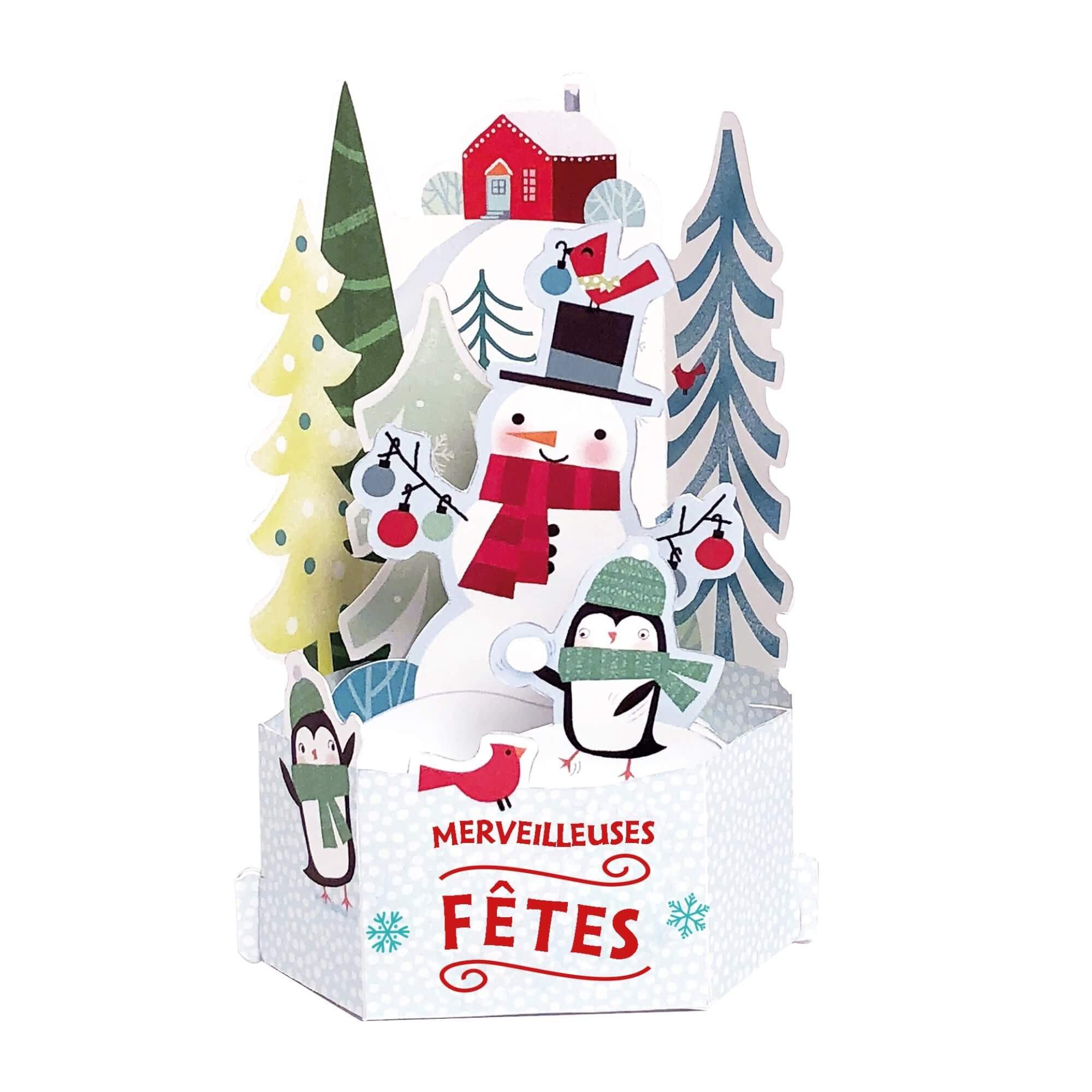 Carte de voeux noël pop-up 3d bonhomme de neige