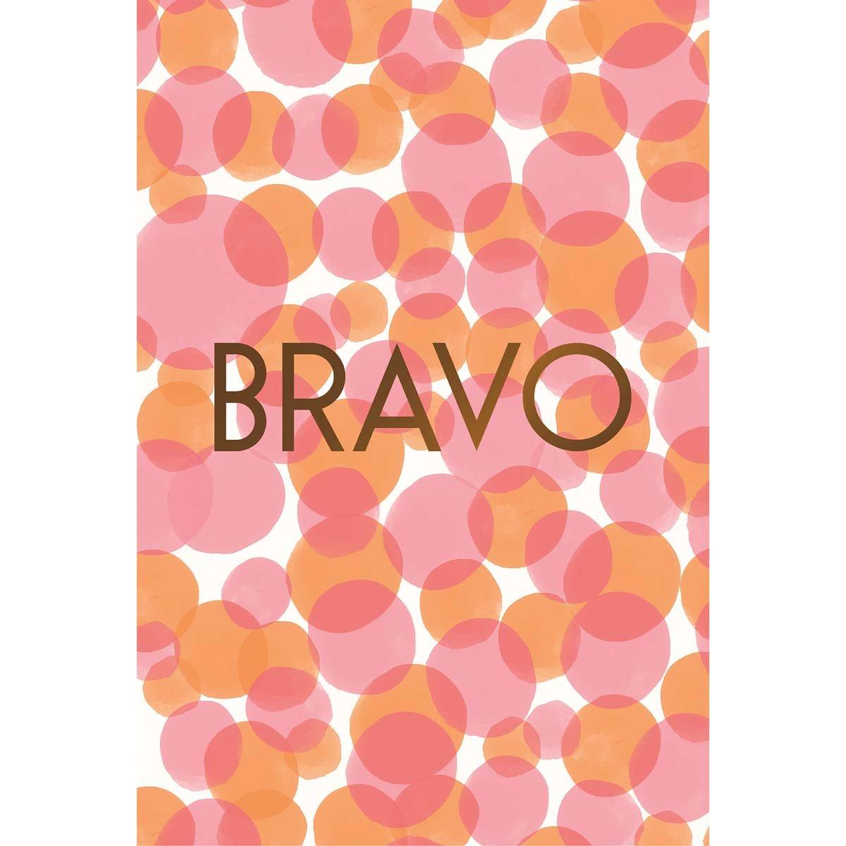 Carte de voeux bravo imprimé rose orange