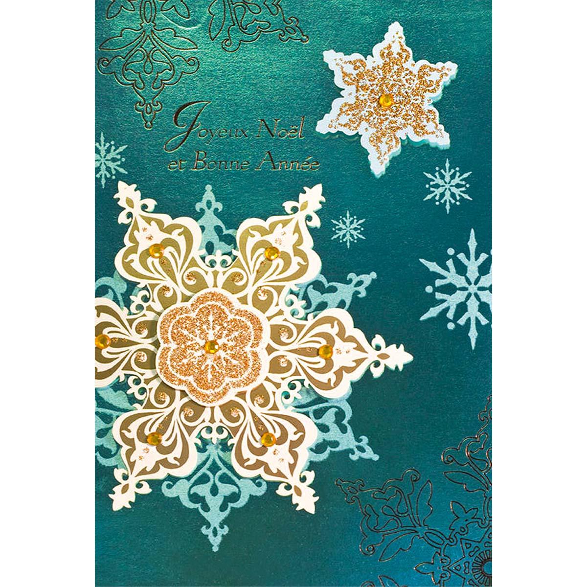 Carte de voeux joyeuses fêtes flocons en or