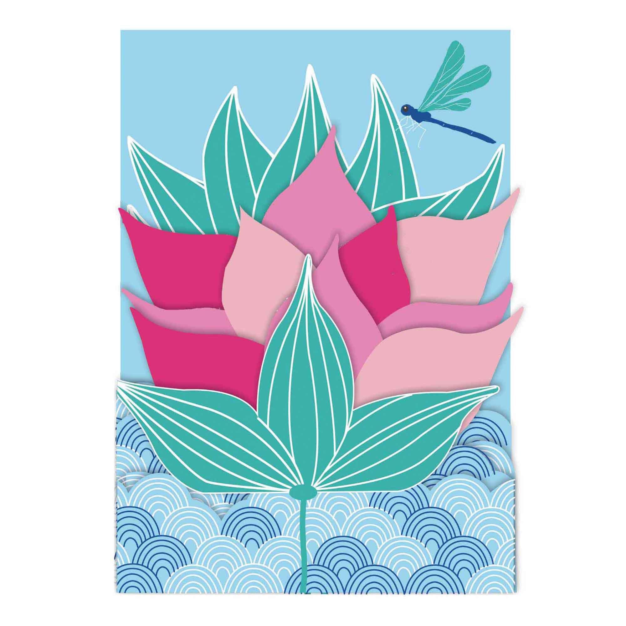 Carte pop-up 3d fleurs de Lotus