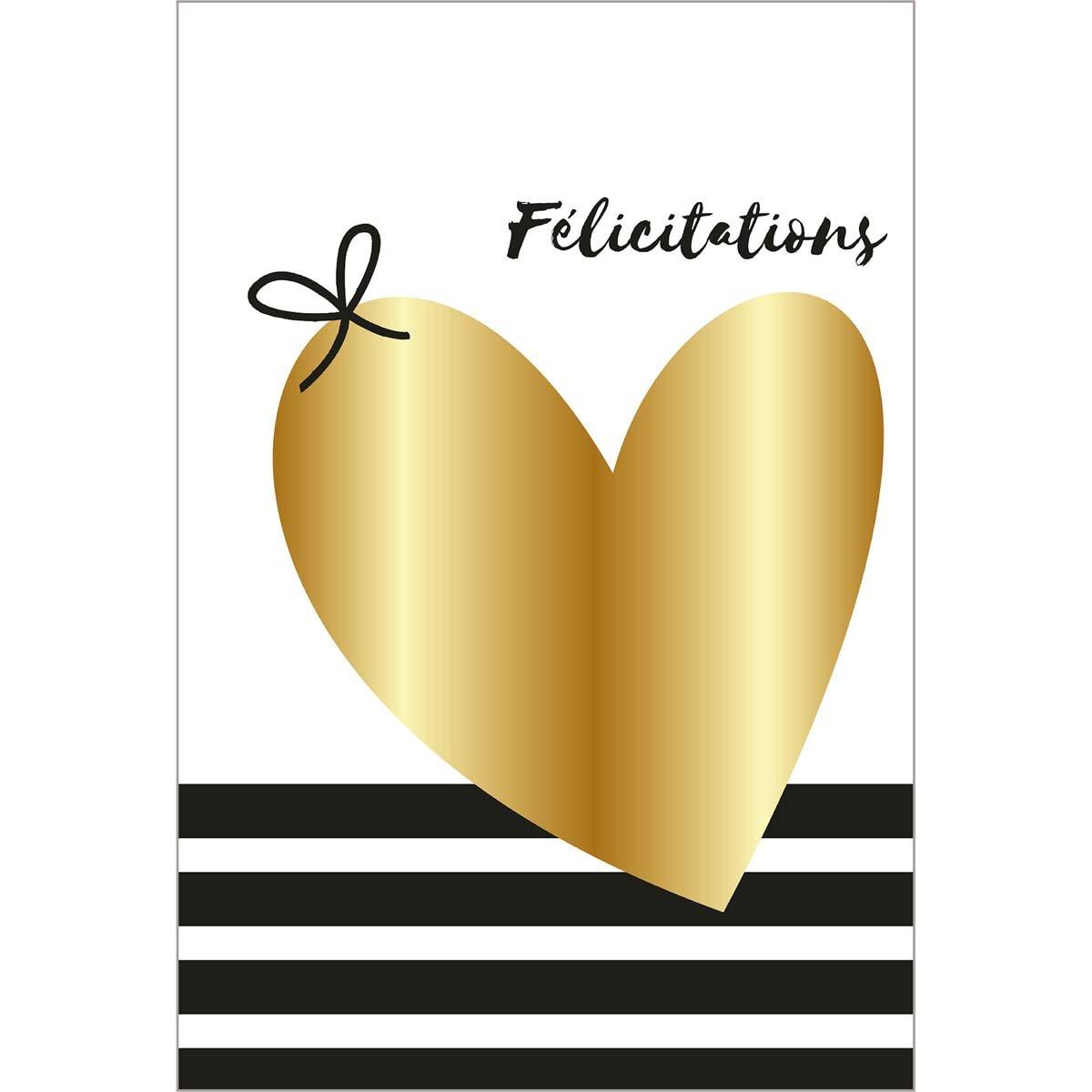 Carte de voeux félicitations coeur or