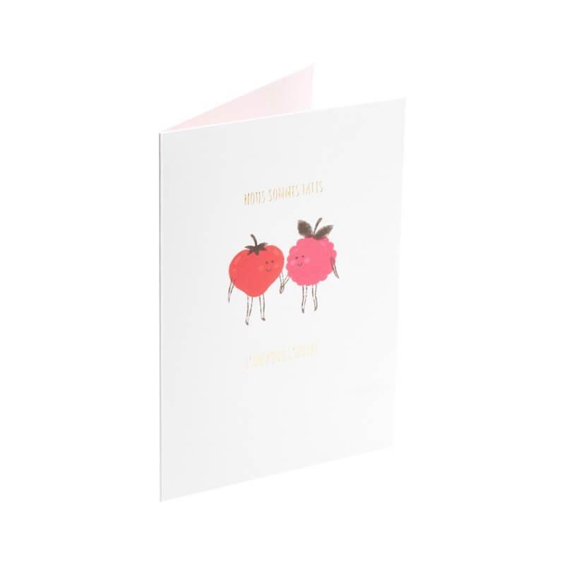 Carte de voeux couple de fruits