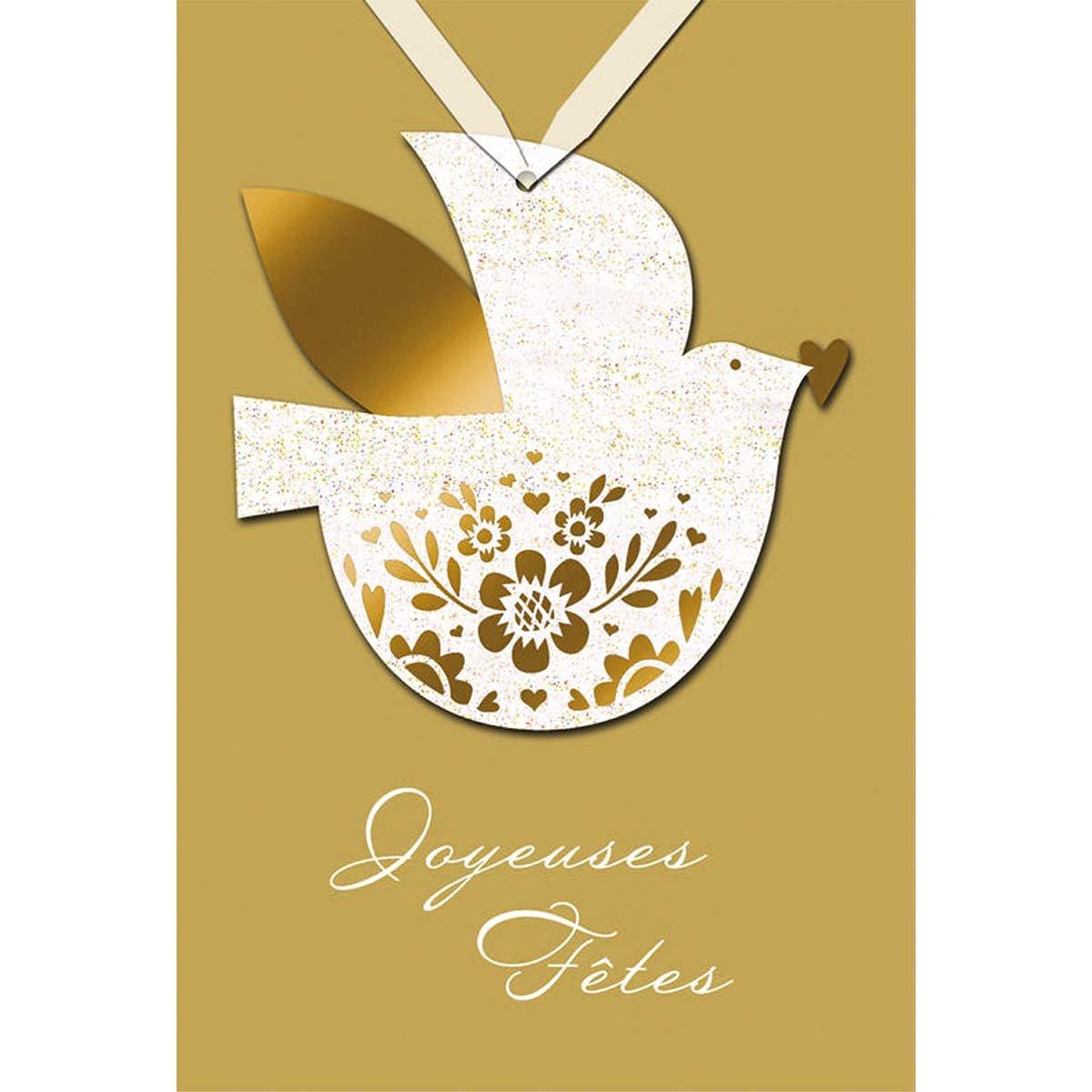 Carte de voeux joyeuses fêtes colombe