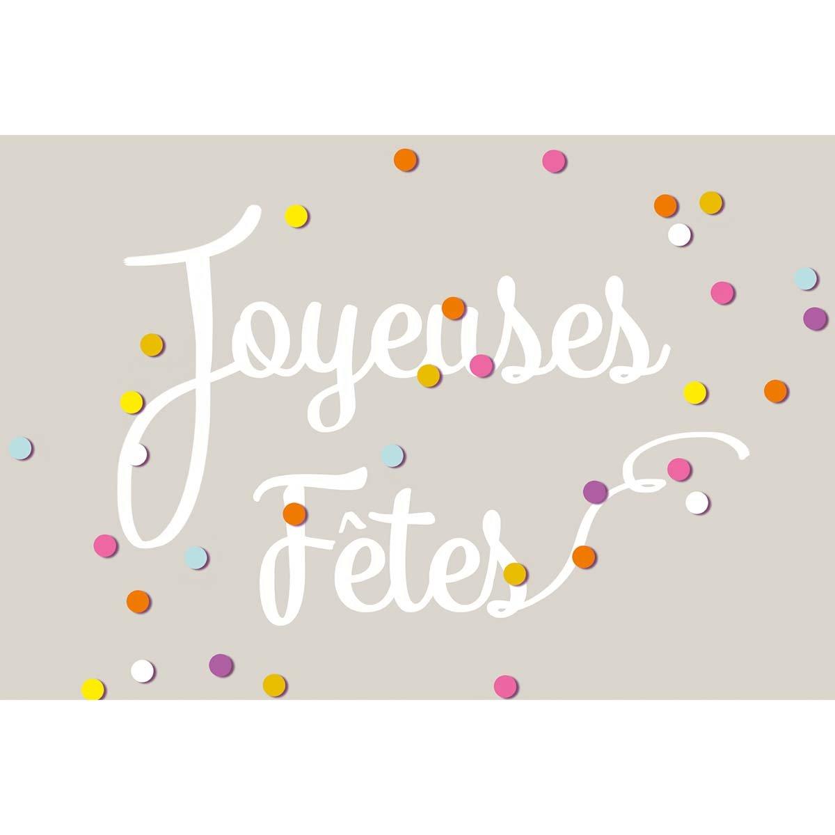 Carte de voeux joyeuses fêtes confettis colorés