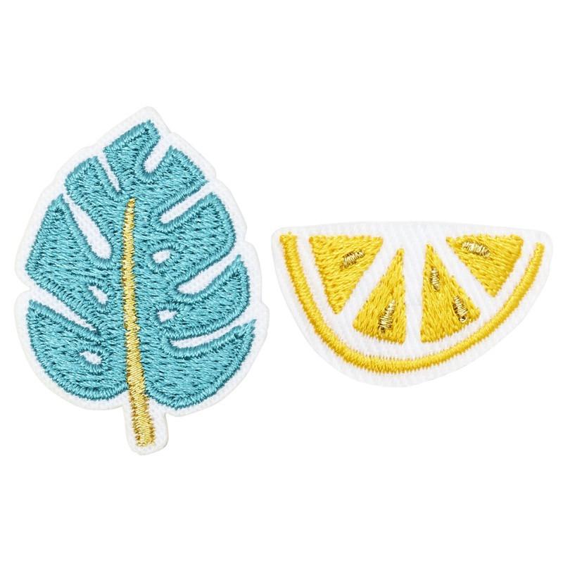 Broche brodée monstera & citron