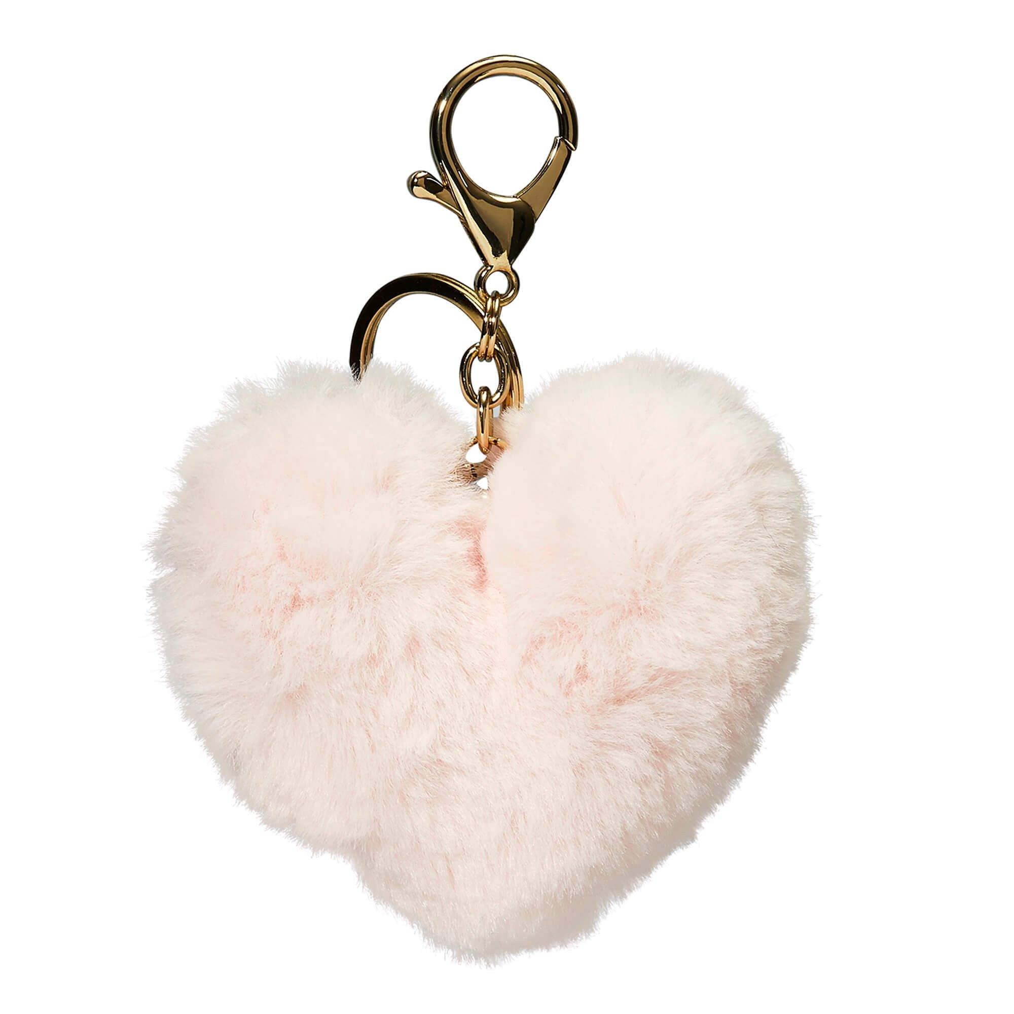 Porte-clés peluche coeur rose