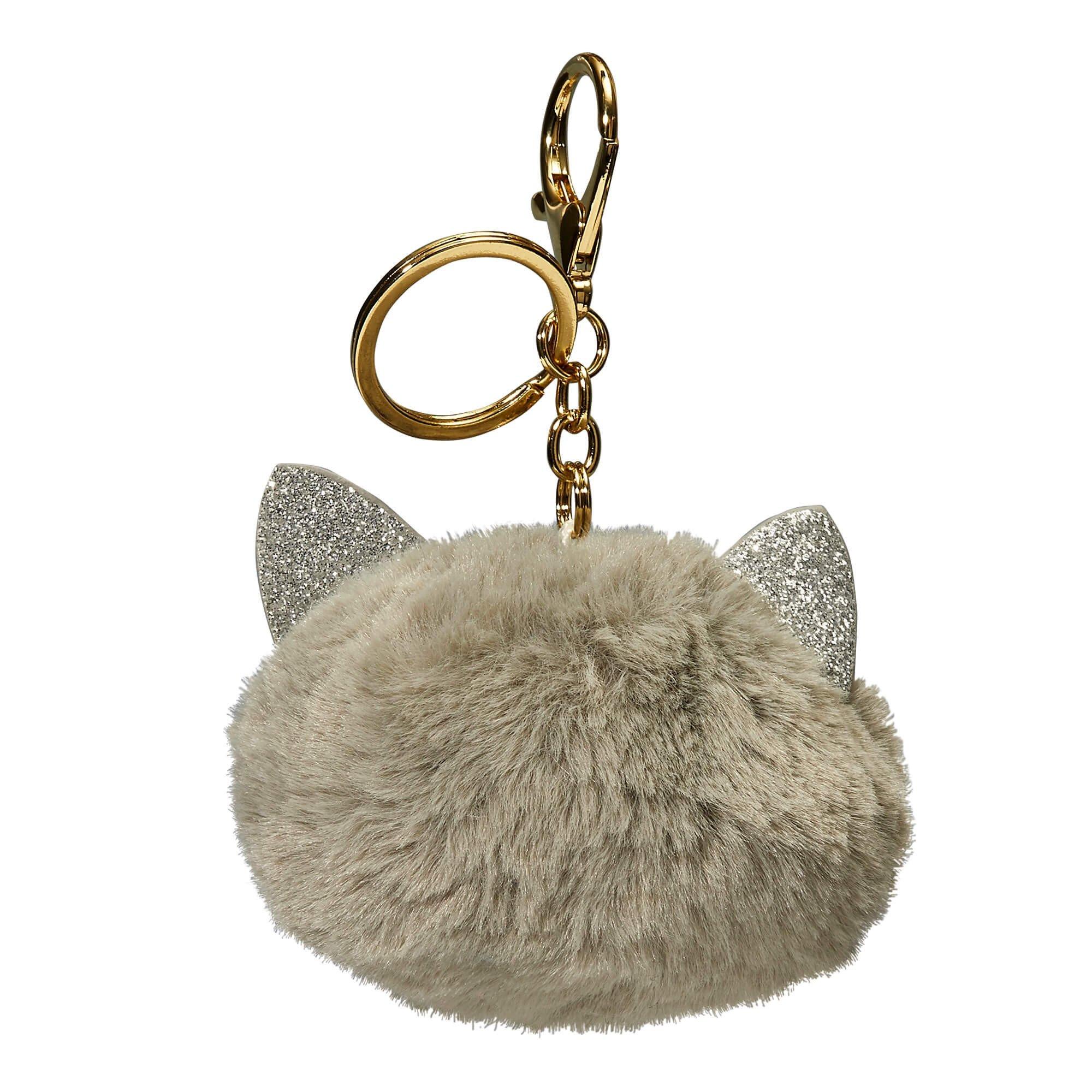 Porte-clés peluche chat gris